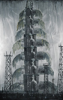 """Tower"" Oil, Mixed Media on Aluminum, 44"" x 27"""